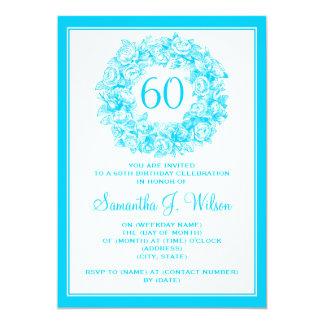 60.a turquesa elegante de los rosas del vintage invitación 12,7 x 17,8 cm