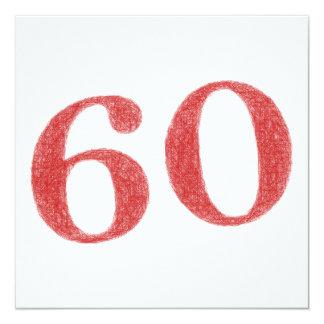 60 años de aniversario invitación 13,3 cm x 13,3cm