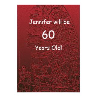 60 años de cumpleaños de la noria bilateral de la invitación 12,7 x 17,8 cm