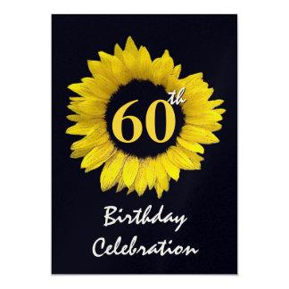 60 años del girasol de fiesta de cumpleaños invitación 12,7 x 17,8 cm