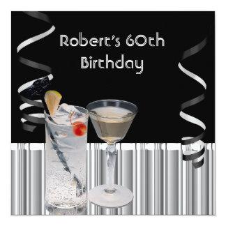 60.as bebidas para hombre de la plata del negro de invitación 13,3 cm x 13,3cm