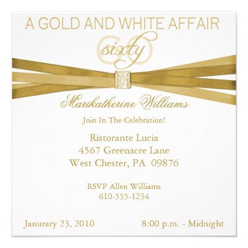 60.as invitaciones del oro y de la fiesta de cumpl invitación