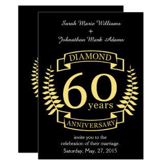60.o Amarillo del diamante del ANIVERSARIO de boda Invitación 12,7 X 17,8 Cm