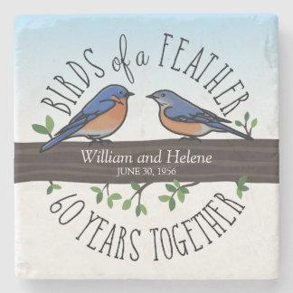 60.o Aniversario de boda, Bluebirds de una pluma Posavasos De Piedra