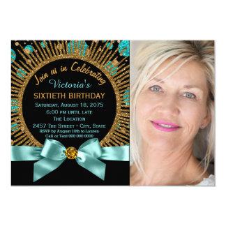 60.o azul del trullo del cumpleaños de la mujer y invitación 12,7 x 17,8 cm