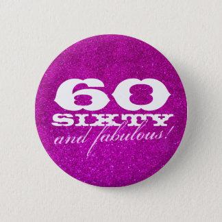 60.o botón del cumpleaños para el falso purpurina