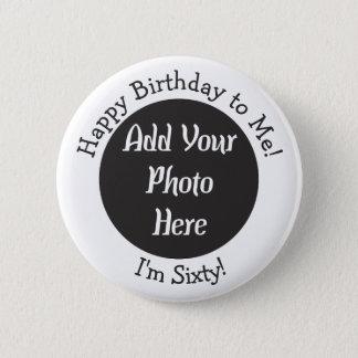 60.o botón personalizado de la foto del cumpleaños