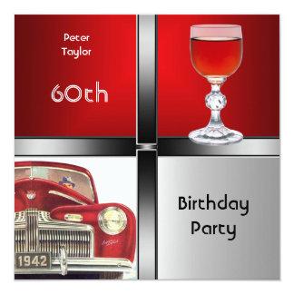 60.o coche rojo para hombre del rojo de la plata invitación 13,3 cm x 13,3cm