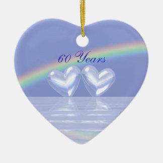 60.o Corazones del diamante del aniversario Adorno De Cerámica En Forma De Corazón