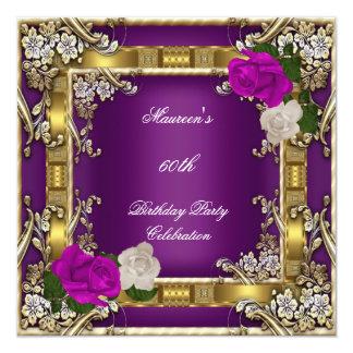60.o Crema púrpura del ciruelo del oro de la Invitación 13,3 Cm X 13,3cm