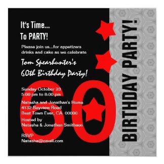 60.o Cumpleaños A01 divertido negro de plata rojo Invitación 13,3 Cm X 13,3cm