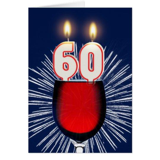 60.o Cumpleaños con el vino y las velas Tarjeta De Felicitación