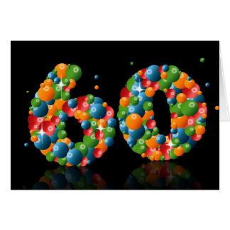 60.o cumpleaños con los números formados de bolas tarjeta de felicitación