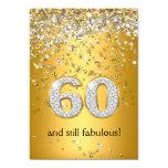 60.o cumpleaños fabuloso de 60 flámulas de plata invitación 12,7 x 17,8 cm
