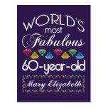 60.o Cumpleaños la mayoría de las gemas coloridas Tarjeta Postal