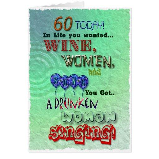 60.o cumpleaños, mujeres del vino y tarjeta de la