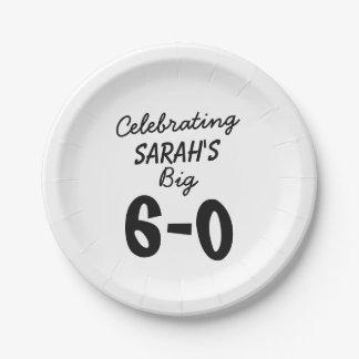 60.o cumpleaños personalizado celebrando el 6-0 plato de papel