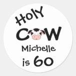 60.o cumpleaños personalizado de la vaca santa pegatina redonda