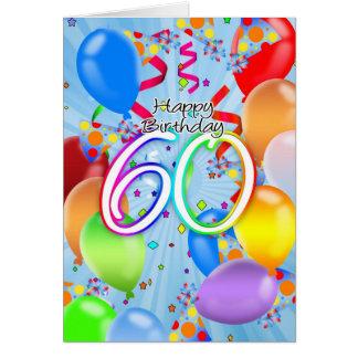 60.o cumpleaños - tarjeta de cumpleaños del globo