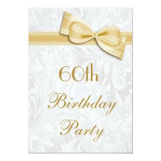 60.o Damasco de la fiesta de cumpleaños y falso Invitaciones Personales