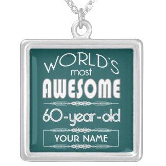 60 o Del cumpleaños de los mundos verde oscuro Collar