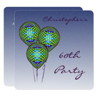60.o El globo azul invita Invitación 13,3 Cm X 13,3cm