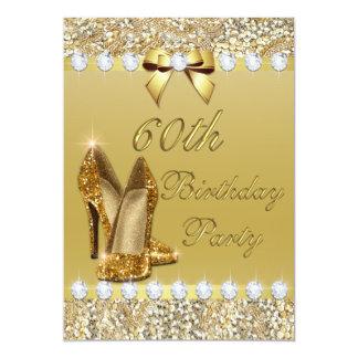 60.o El oro con clase del cumpleaños se inclina Invitación 12,7 X 17,8 Cm
