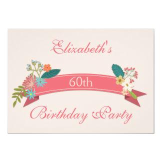 60.o El vintage del cumpleaños florece la bandera Invitación