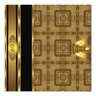 60.o hombre para hombre del libro del oro de la invitación 13,3 cm x 13,3cm