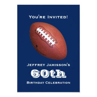 60.o Invitación de la fiesta de cumpleaños, fútbol Invitación 12,7 X 17,8 Cm