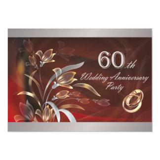 60.o Invitaciones de la fiesta de aniversario del Invitación 12,7 X 17,8 Cm