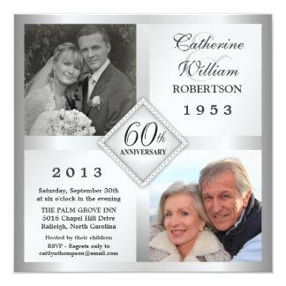 60.o Invitaciones de plata de la foto del Invitación 13,3 Cm X 13,3cm