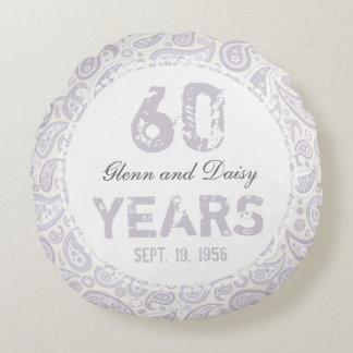 60.o Modelo de Paisley del aniversario de boda de Cojín Redondo