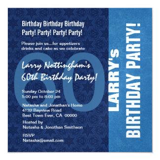 60.o Modelo moderno del cumpleaños en tonalidades Invitación 13,3 Cm X 13,3cm