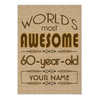 60.o Mundo de la celebración del cumpleaños mejor Invitación 12,7 X 17,8 Cm