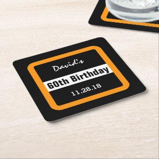 60.o Negro del cumpleaños con el personalizado Posavasos De Cartón Cuadrado