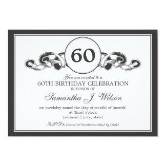 60.o negro elegante de la cinta de Swirly del Invitación 12,7 X 17,8 Cm