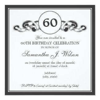 60.o negro elegante de la cinta de Swirly del Invitación 13,3 Cm X 13,3cm