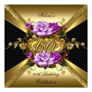 60.o Negro púrpura del oro de los rosas de la Invitación 13,3 Cm X 13,3cm