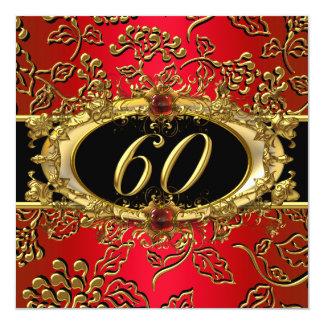 60.o Negro rojo del oro del damasco de la fiesta Invitación 13,3 Cm X 13,3cm