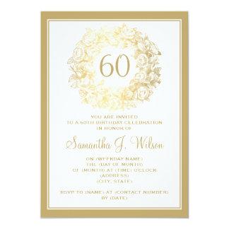 60.o oro elegante de los rosas del vintage del invitación 12,7 x 17,8 cm