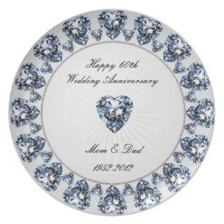 60.o Placa de la melamina del aniversario de boda Plato