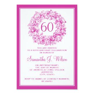 60.o rosa de rosas elegante del vintage del invitación 12,7 x 17,8 cm