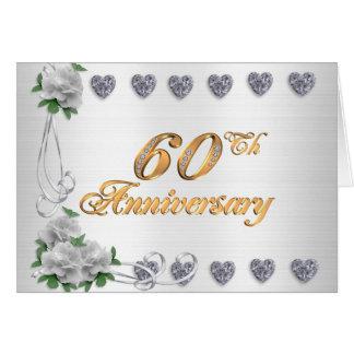 60.o satén del blanco de la invitación de la tarjeta de felicitación