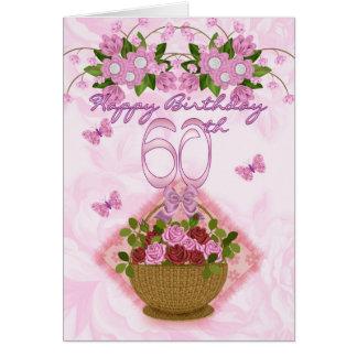 60.o Señora del cumpleaños, rosas y flores Tarjeta De Felicitación
