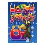 60.o Tarjeta de cumpleaños linda con el pequeño ra