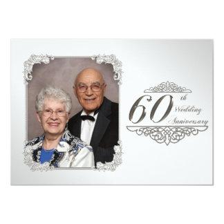 60.o Tarjeta de la invitación de la foto del