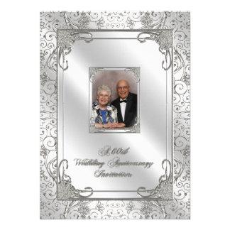 60 o Tarjeta de la invitación de la foto del anive