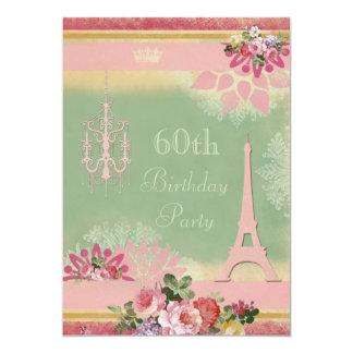 60.o Torre Eiffel y lámpara rosadas del cumpleaños Invitación 12,7 X 17,8 Cm