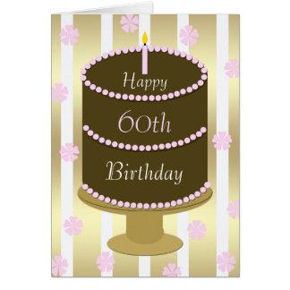 60.o Torta de la tarjeta de cumpleaños en rosa